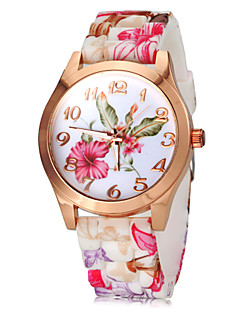 Damen Modeuhr Quartz Silikon Band Blume Rosa Marke-