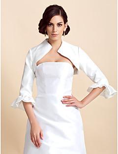 결혼식 랩 코트 / 재킷 3/4 길이 소매 태피터 아이보리 웨딩 페탈 러플 오픈 프론트