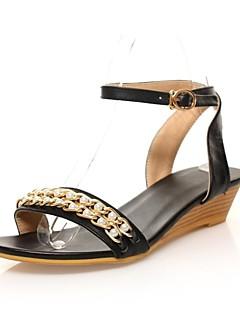 Scarpe Donna - Sandali - Formale / Casual - Comoda / Con cinghia - Zeppa - Di pelle - Nero / Beige