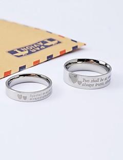 Ringen voor stelletjes Titanium Staal Ronde vorm Klassiek Zilver Sieraden Dagelijks Causaal
