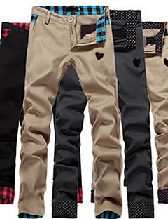 Sameul Men's Casual Check/Polka Dots Pattern Random Trousers