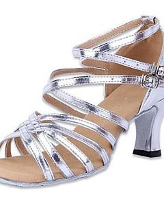 Dámské - Taneční boty - Latina - Koženka - Masivní podpatek - Stříbrná