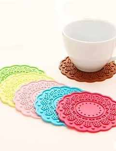 "Rundskriv Flower Shape Mat, Silica Gel 4 ""x4"" x0.1 ""(Color tilfeldig)"