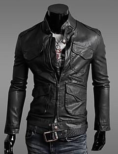 мужская лацкане шеи оболочка кожаная куртка