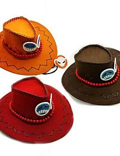 כובע קיבל השראה מ One Piece Ace אנימה אביזרי קוספליי כובע אדום / כתום פליס פולאר זכר