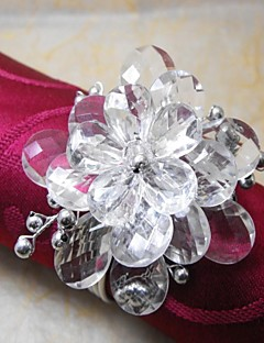 Crystal Beads Flower In Multi Color Napkin Ring,Acrylic Beades, 3.5CM, Set of 12,