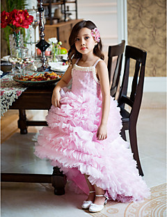 A-line Asymmetrical Flower Girl Dress - Organza Sleeveless