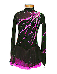 Eiskunstlaufkleider Damen / Mädchen Langärmelige Eislaufen Röcke & Kleider Eiskunstlauf-Kleid Elasthan Schwarz Skating WearLeistung /