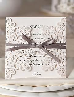 """Kapı Şeklinde Katlanır Düğün Davetiyeleri 20 50 10-Davet Kartları Çiçek Tarzı Kart Kağıdı 6""""×6"""" (15*15cm) Papyonlar Kurdeleler"""
