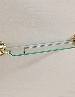 Antique Brass Ti-PVD de parede prateleira de vidro