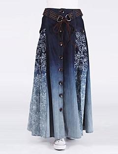 女性のボヘミアヴィンテージカジュアルボタンジーンズロングスカート(ベルトランダム)