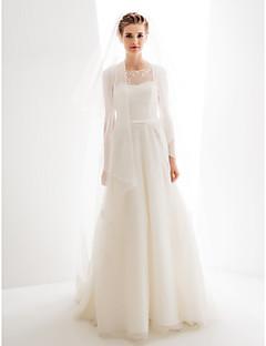 lan ting vestido de novia de una línea / princesa - marfil barrido / cepillo tren joya de encaje