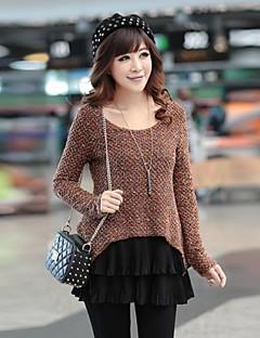 Mulheres Blusa / Camiseta Casual Simples / Moda de Rua Primavera / Outono / Inverno,Color Block Preto / Marrom Algodão / Linho / Outros