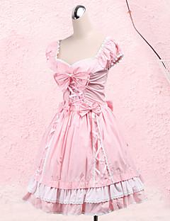 One-piece/Klänning Söt Lolita Prinsessa Cosplay Lolita-klänning Rosett Kort ärm Medium längd Klänning För Bomull