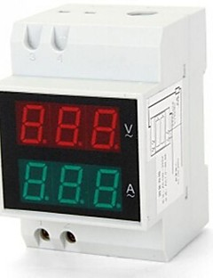 Digital LED Dual Display Rail AC Ammeter Voltmeter Voltage Current 0.2-99.9A