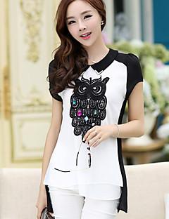 YHC Women'Sowl Design kortærmet chiffon Shirt