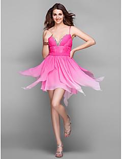 Cocktail Party / Holiday / Prom Dress - Multi-color Plus Sizes / Petite A-line V-neck Short/Mini Chiffon