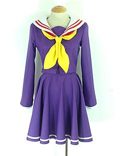 Inspireret af Ingen spil No Life Shiro Anime Cosplay Kostumer Cosplay Suits / Skoleuniformer Ensfarvet Lilla Langt ÆrmeJakke / Kjole /