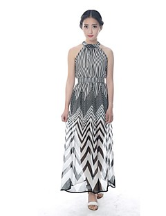 haoduoyi®女性のステッチストライプロングストラップのドレス