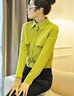 Mulheres Camisa Casual Simples Primavera,Sólido Azul / Vermelho / Branco / Verde / Amarelo / Roxo Poliéster Manga Longa Opaca