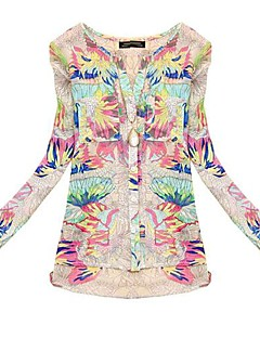 Women's Summer Shirt,Print Round Neck Long Sleeve Multi-color Translucent