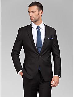 Suit Kişiye Özel Kalıp Dar Çentik Tek Sıra Düğmeli Bir Düğme Polyester 2 Parça Siyah Düz Kapak Yok (Düz Cephe) Yok (Düz Cephe)