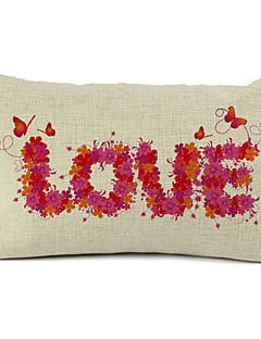 blommig kärlek bomull / linne dekorativa örngott