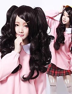 지퍼 어두운 소녀 검은 곱슬 긴 고딕 로리타 가발