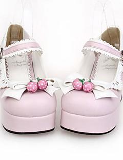 rosa pu 7.5cm de cuero zapatos de tacón alto dulce lolita con fila
