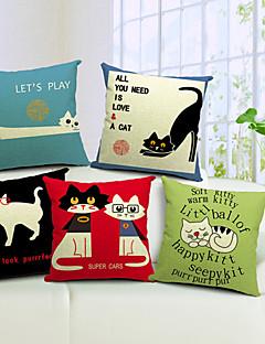 set om 5 underbara katter bomull / linne dekorativa örngott