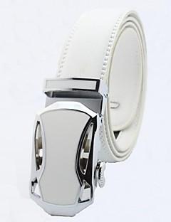 bianchi cinture fibbia automatica cinghia di cuoio genuina di affari degli uomini