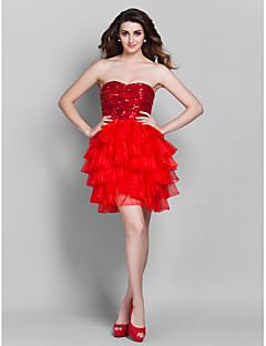 Cocktail Party / Prom / Holiday Dress - Ruby Plus Sizes / Petite A-line / Princess Sweetheart Short/Mini Sequined / Organza