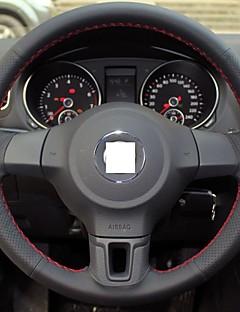 XuJi ™ Black Genuine Leather Steering Wheel Cover for Volkswagen Golf 6 Mk6 VW Polo Sagitar Bora Santana Jetta