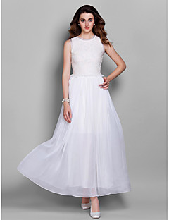 Prom / Formal Evening / Military Ball Dress - Elegant Sheath / Column Jewel Ankle-length Chiffon / Lace with Ruffles