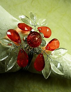 Crystal Heart Crystal Flower In Multi Color Napkin Ring,Acrylic Beades, 4.5CM, Set of 12,