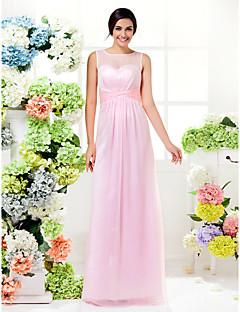 신부 들러리 드레스 - 블러슁 핑크 시스/컬럼 바닥 길이 보석 쉬폰