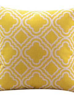 giallo cotone diamante / copertura del cuscino decorativo lino