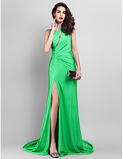 Formal Evening Dress - Clover Plus Sizes A-line One Shoulder Court Train Jersey
