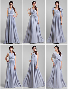 Lanting Bride® Floor-length Georgette Bridesmaid Dress - Convertible Dress A-line Plus Size / Petite withSash / Ribbon / Criss Cross /