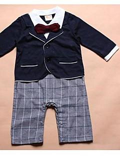 Chlapcův turn-down límec dlouhý rukáv bílé košile + red bow + Blue Coat + kostkované kalhoty designu rompers