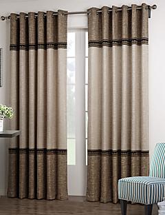 (Iki panel) neoklasik kahverengi ve bej katı çiçek dantel oda karartma perdesi
