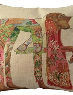 """createforlife® 18 """"coussin décoratif carré rétro animal de bande dessinée impression chien de linge de coton"""