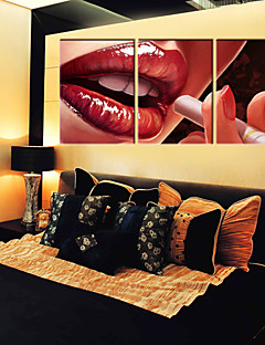 Stretched Canvas Art Lips Red Temptation Set di 3
