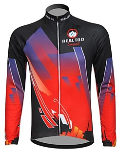 REALTOO® Cycling Jacket Men's Long Sleeve Bike Breathable / Thermal / Warm / Fleece Lining Jersey / Tops Spandex / Polyester / Fleece