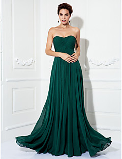 Formal Evening/Prom/Military Ball Dress - Dark Green Plus Sizes A-line/Princess Strapless Sweep/Brush Train Chiffon
