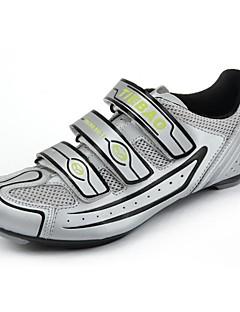 zapatillas de ciclismo de ruta-TB16 B1230 con suela de fibra de vidrio y cuero pvc superior (plata + negro)