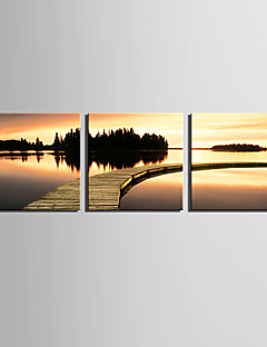 E-Home® Stretched Canvas Art Sunset Waterside Set of 3