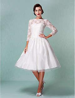 A-line Petite / Plus Sizes Wedding Dress - Ivory Knee-length Bateau Lace / Tulle