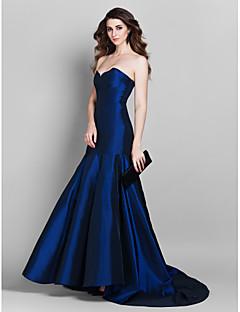 Robe - Bleu royal Soirée formelle Sirène Col en cœur Traîne moyenne Taffetas Grandes tailles