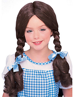 Sweet Girl Long Double Braided Brown 55cm Kids' Halloween Party Wig